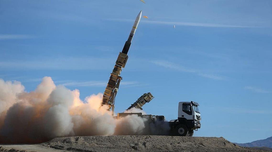 A handout picture made available by the Iranian Army office reportedly shows a Sayad missile fired from the Talash missile system during an air defence drill at an undisclosed location in Iran on November 5, 2018. (AFP)