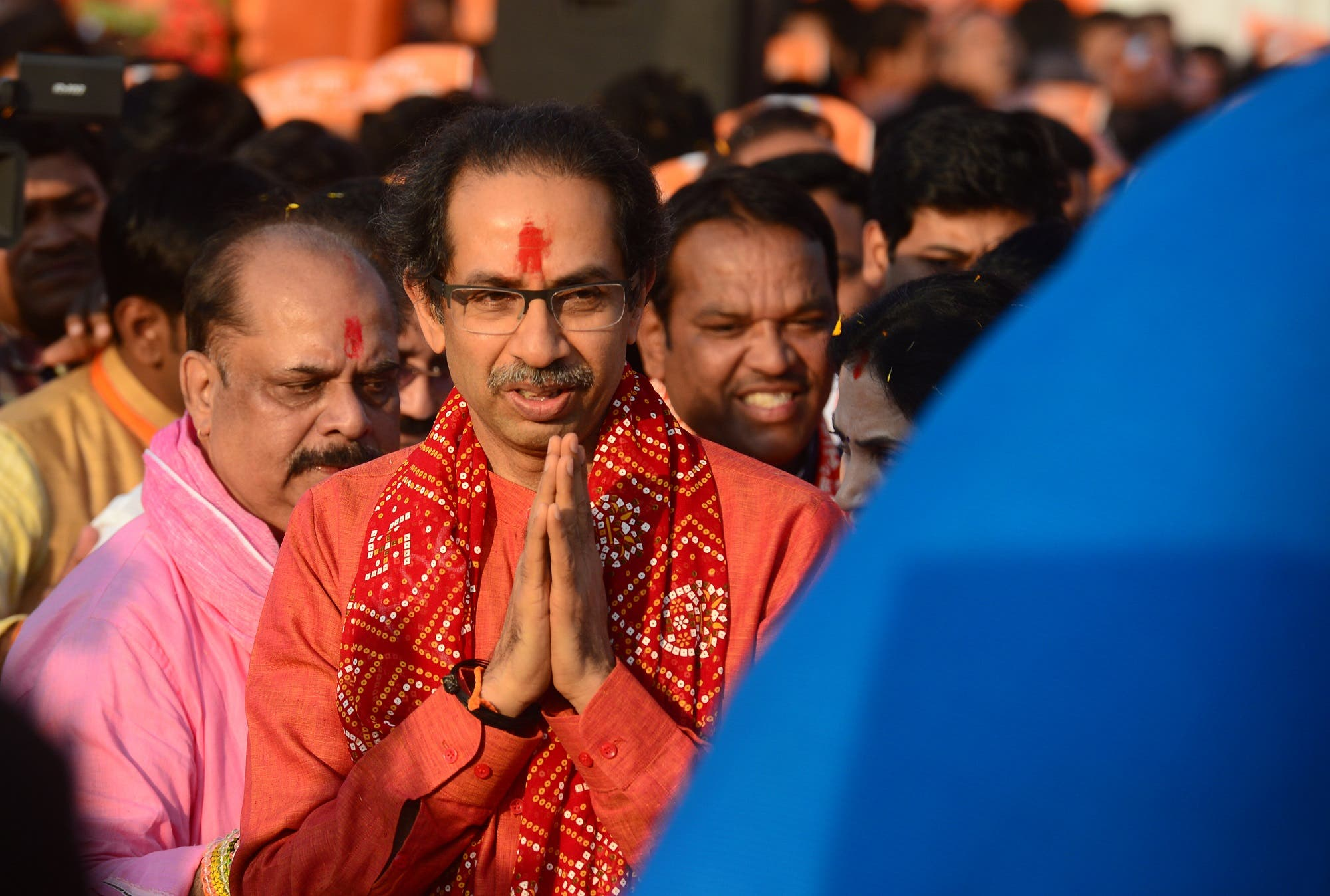 Shiv Sena chief Uddhav Thackeray arrives to attend an event in Ayodhya on November 24, 2018. (AFP)