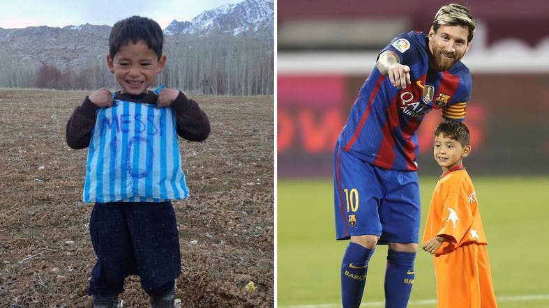 2d26d050554 A combo of Lionel Messi fan Afghani Murtaza Ahmadi posing with his plastic  bag jersey in Jaghori district of Ghazni province in a photograph taken on  ...