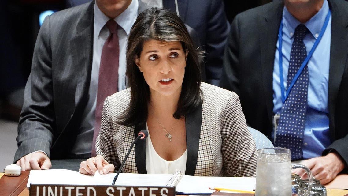 مندوبة واشنطن المنتهية ولايتها لدى الأمم المتحدة نيكي هيلي في نيويورك