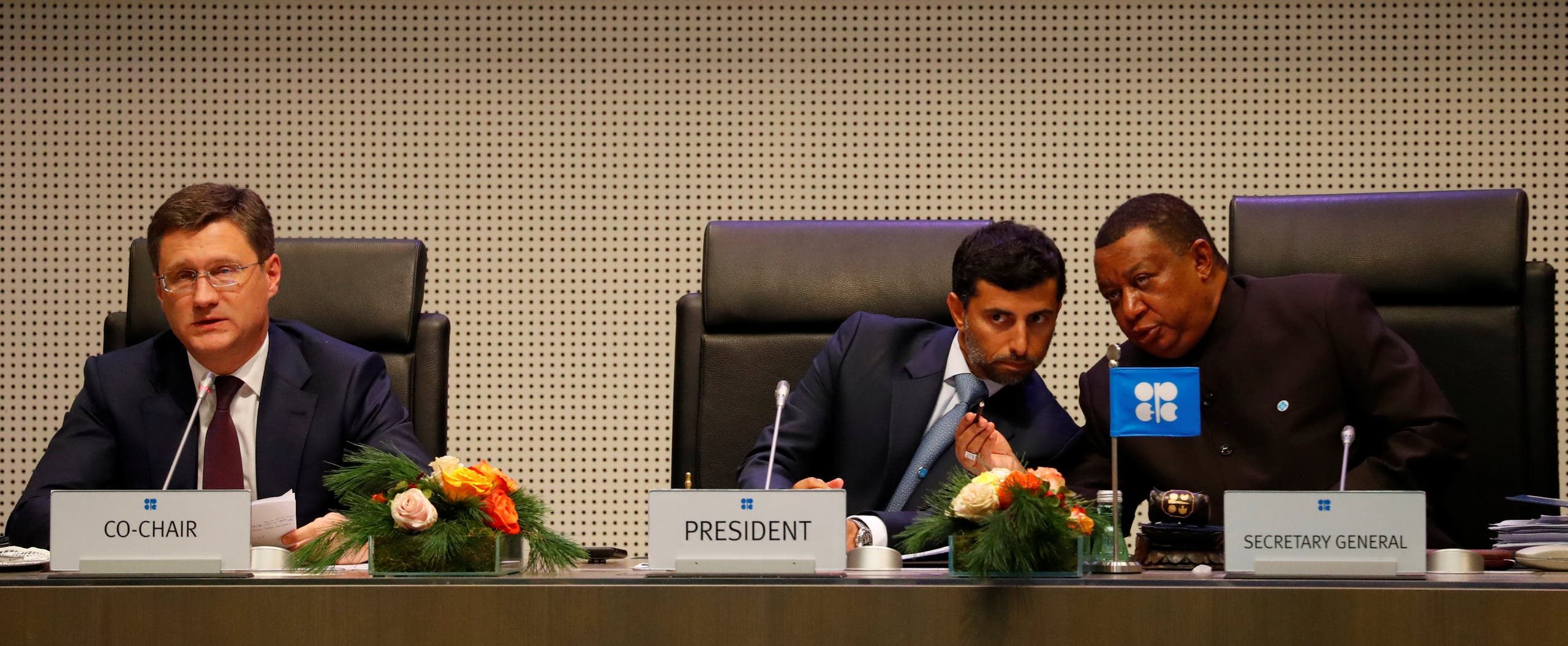 Russian Energy Minister Alexander Novak and UAE's Oil Minister Suhail Mohamed Al Mazrouei and OPEC Secretary General Mohammad Barkindo attend an Opec meeting in Vienna on December 7, 2018. (REuters)