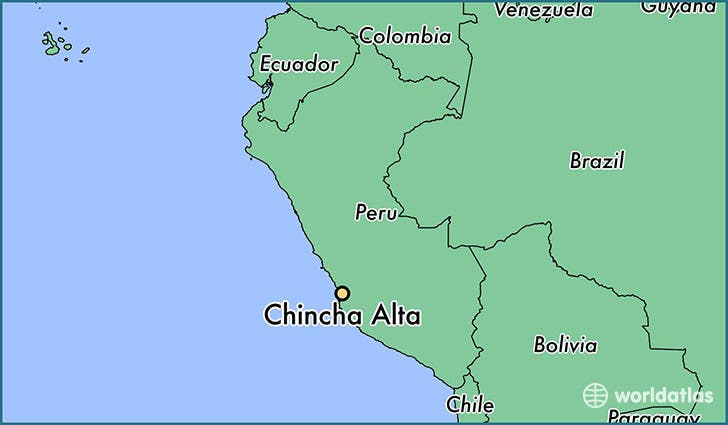 خريطة لموقع جزر تشينتشا