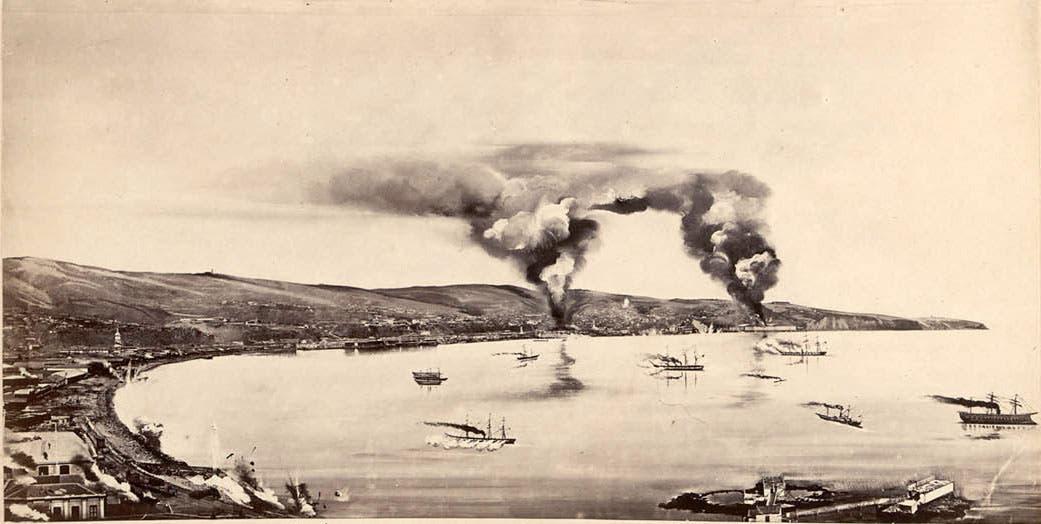 صورة لإحدى عمليات القصف التي قادتها السفن الإسبانية ضد التشيلي