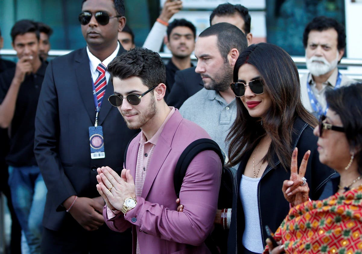 Actress Priyanka Chopra and her husband Nick Jonas arrive in Udaipur. (Reuters)
