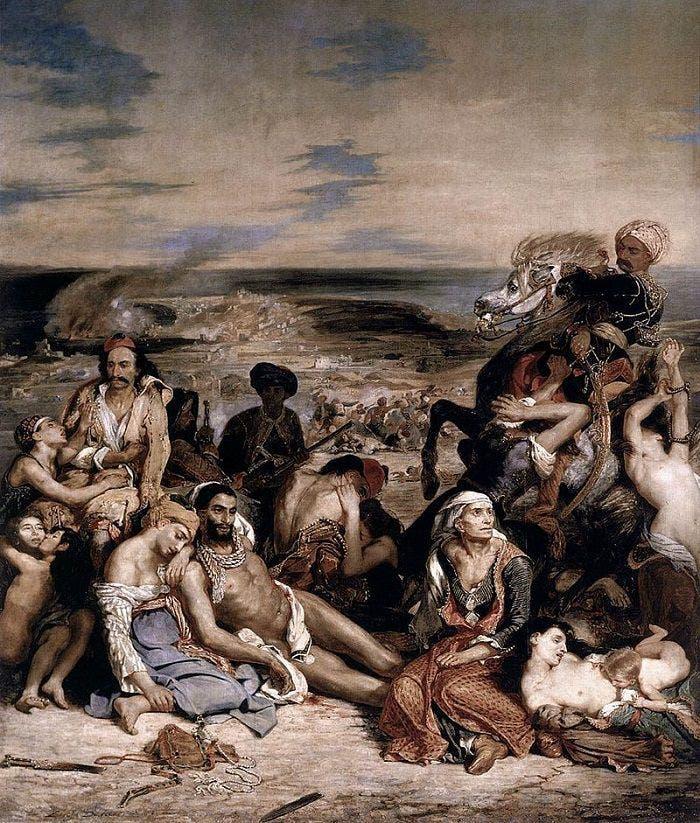 لوحة زيتية للرسام الفرنسي ديلاكروا حول مذبحة خيوس عام 1822