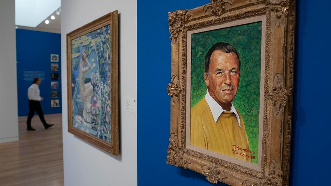 A Norman Rockwell Portrait of Frank Sinatra is displayed at Sotheby's November 30, 2018 in New York. (AFP)