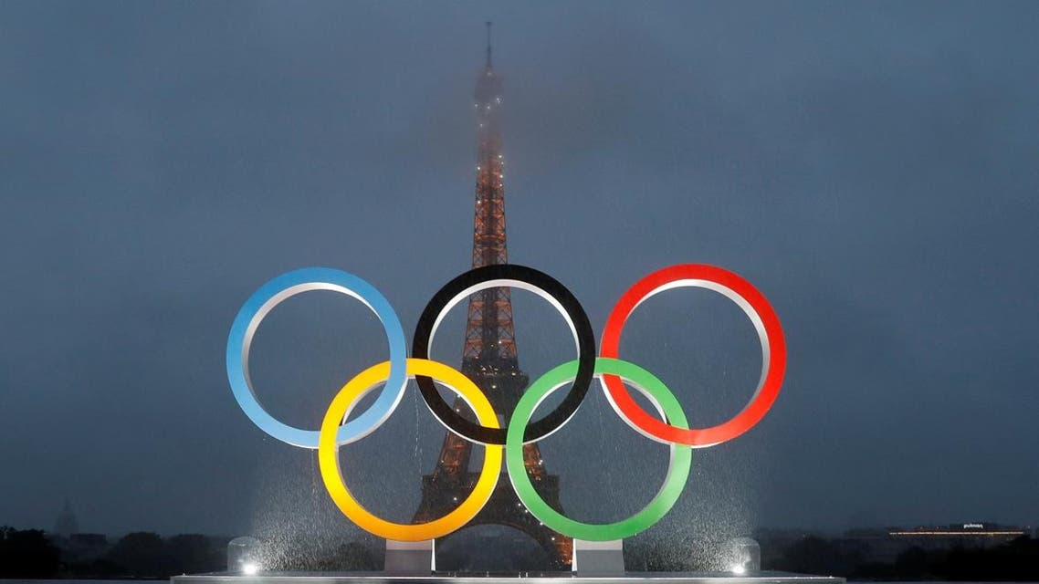 Olympic rings to celebrate the IOC official announcement that Paris won the 2024 Olynpic bid are seen during a ceremony at the Trocadero square in Paris. (Reuters)
