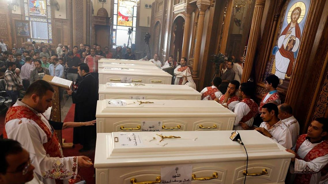 Coffins of the slain Coptic Christians are seen during their funeral service at Church of Great Martyr Prince Tadros, in Minya. (File photo: AP)
