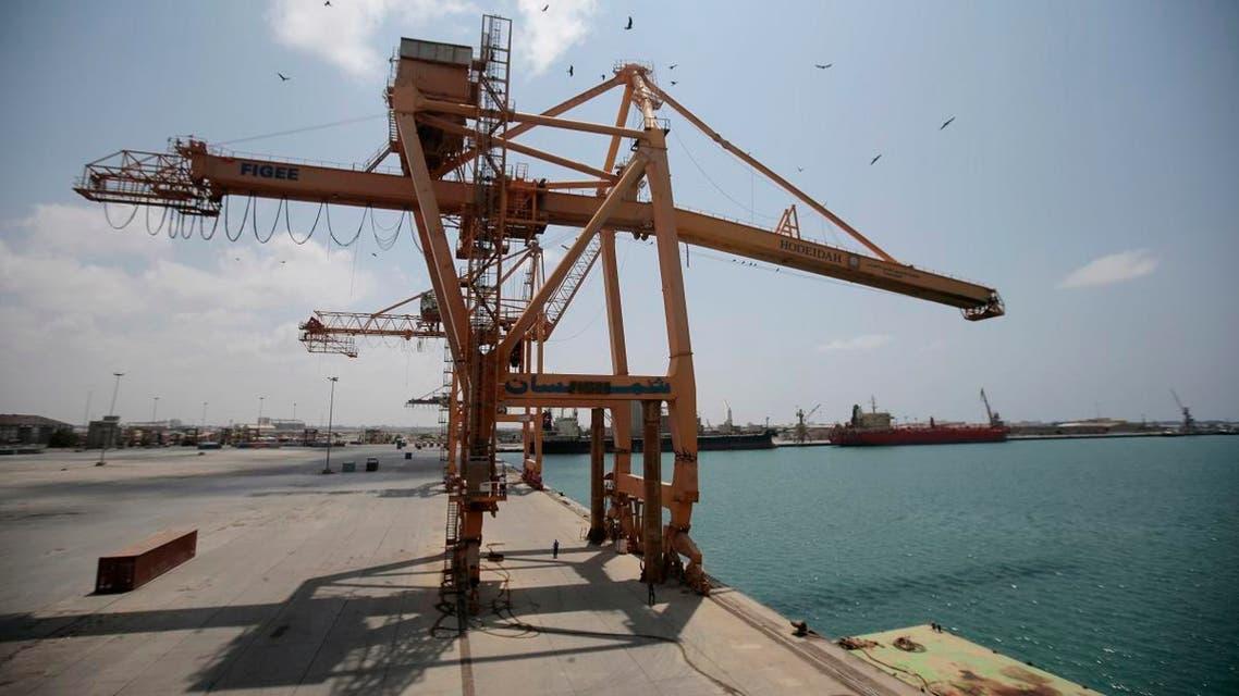 Damaged derricks are seen at the port of Hodeidah, Yemen. (AP)