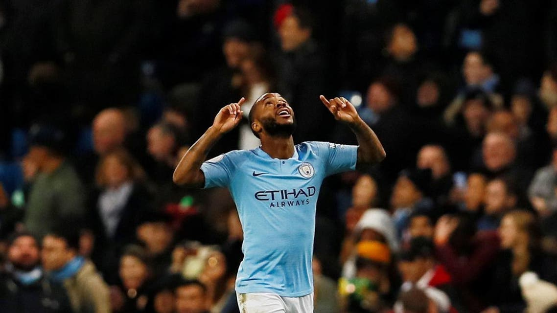 Manchester City's Raheem Sterling celebrates scoring their second goal. (Action Images via Reuters)