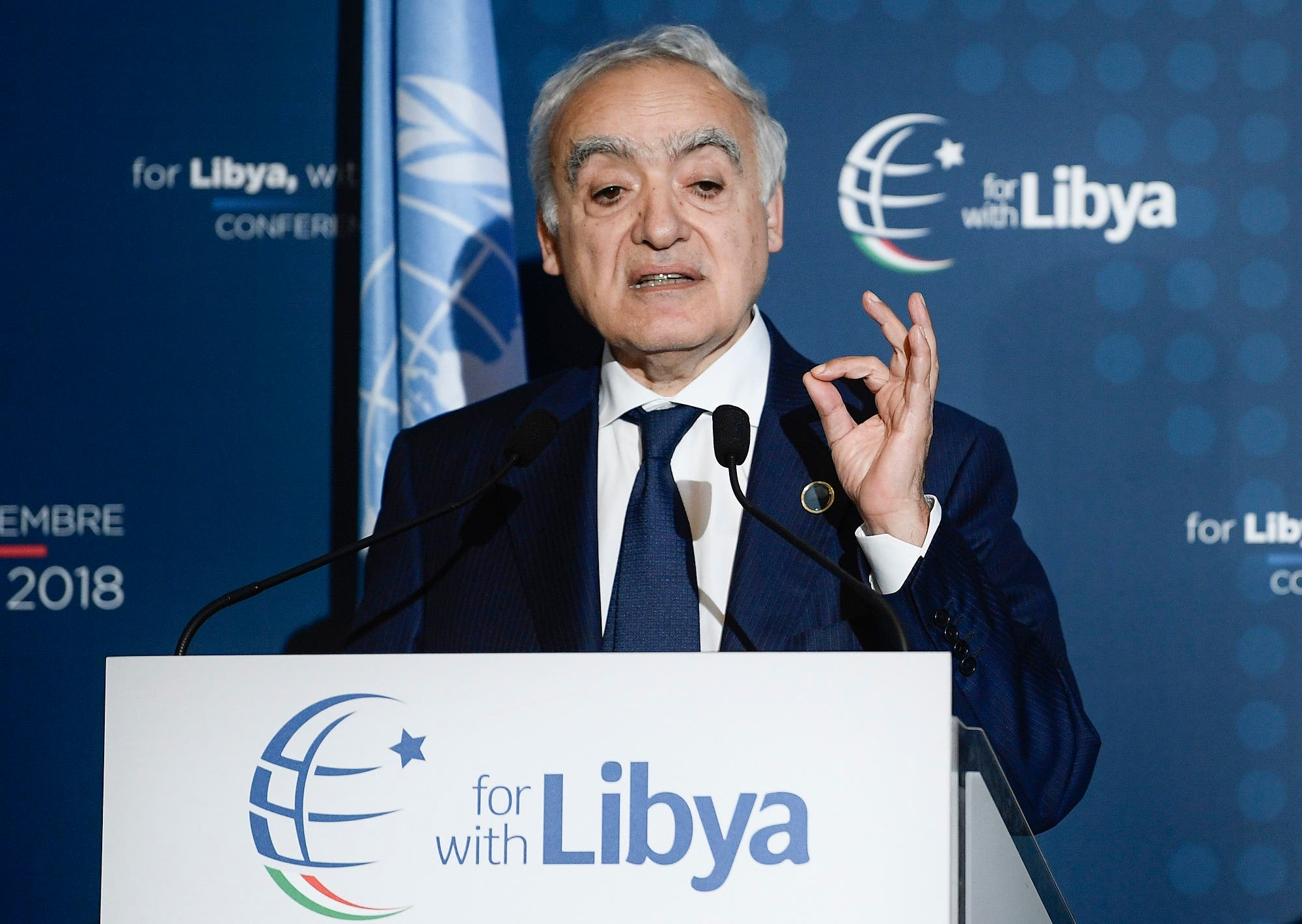 Ghassan Salame addresses a press conference following an international conference on Libya in Palermo on November 13, 2018. (AFP)