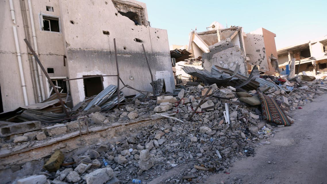 A general view shows damaged buidling in the coastal city of Sirte, east of the capital Tripoli, on November 20, 2016, during a military operation by Forces loyal to Libya's Government of National Accord (GNA) to recapture the city from Islamic State (IS) jihadists.