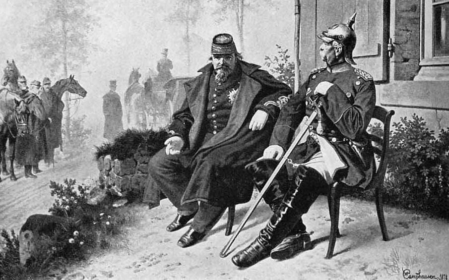 لوحة تجسد أحد اجتماعات بسمارك و نابليون الثالث قبل اندلاع الحرب الفرنسية البروسية بسنوات