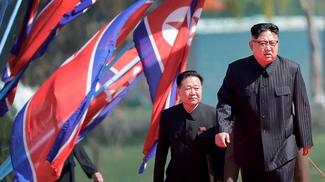 In this April 13, 2017 file photo, North Korean leader Kim Jong Un, right, and Choe Ryong Hae, vice-chairman of the central committee of the Workers' Party, arrive for the official opening of the Ryomyong residential area, in Pyongyang, North Korea. (AP)