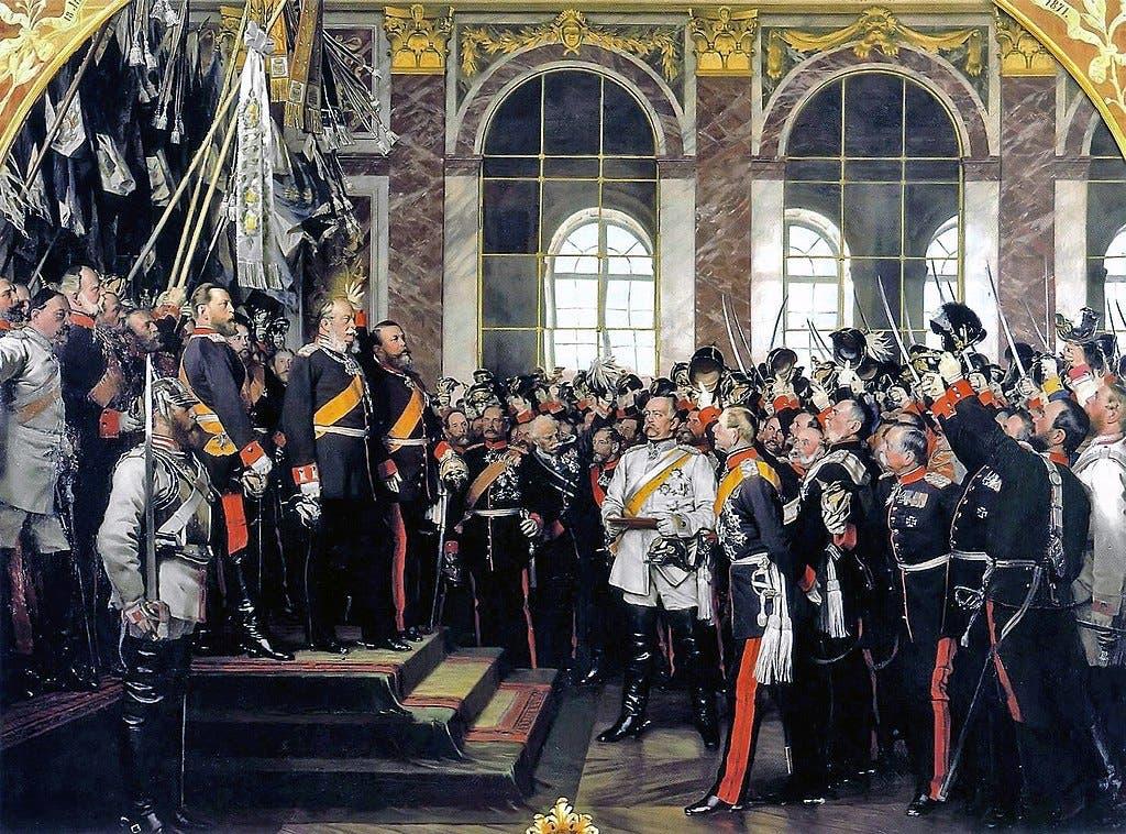صورة لعملية إعلان قيام الوحدة الألمانية