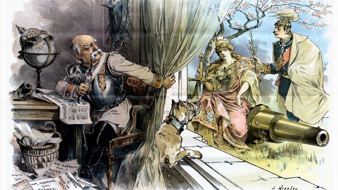 رسم كاريكاتيري ساخر يجسد قيام بسمارك بالتلاعب وتحوير البرقية التي تسببت في اندلاع الحرب