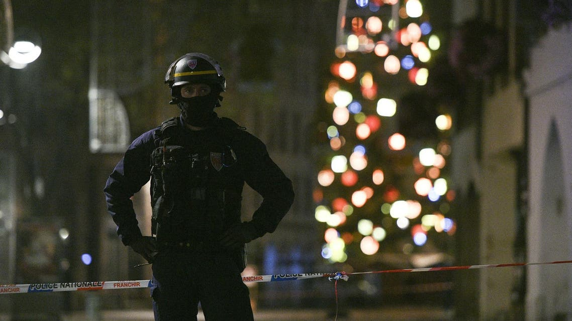 A policeman patrols in the rue des Grandes Arcades in Strasbourg after a shooting breakout, on December 11, 2018. (AFP)