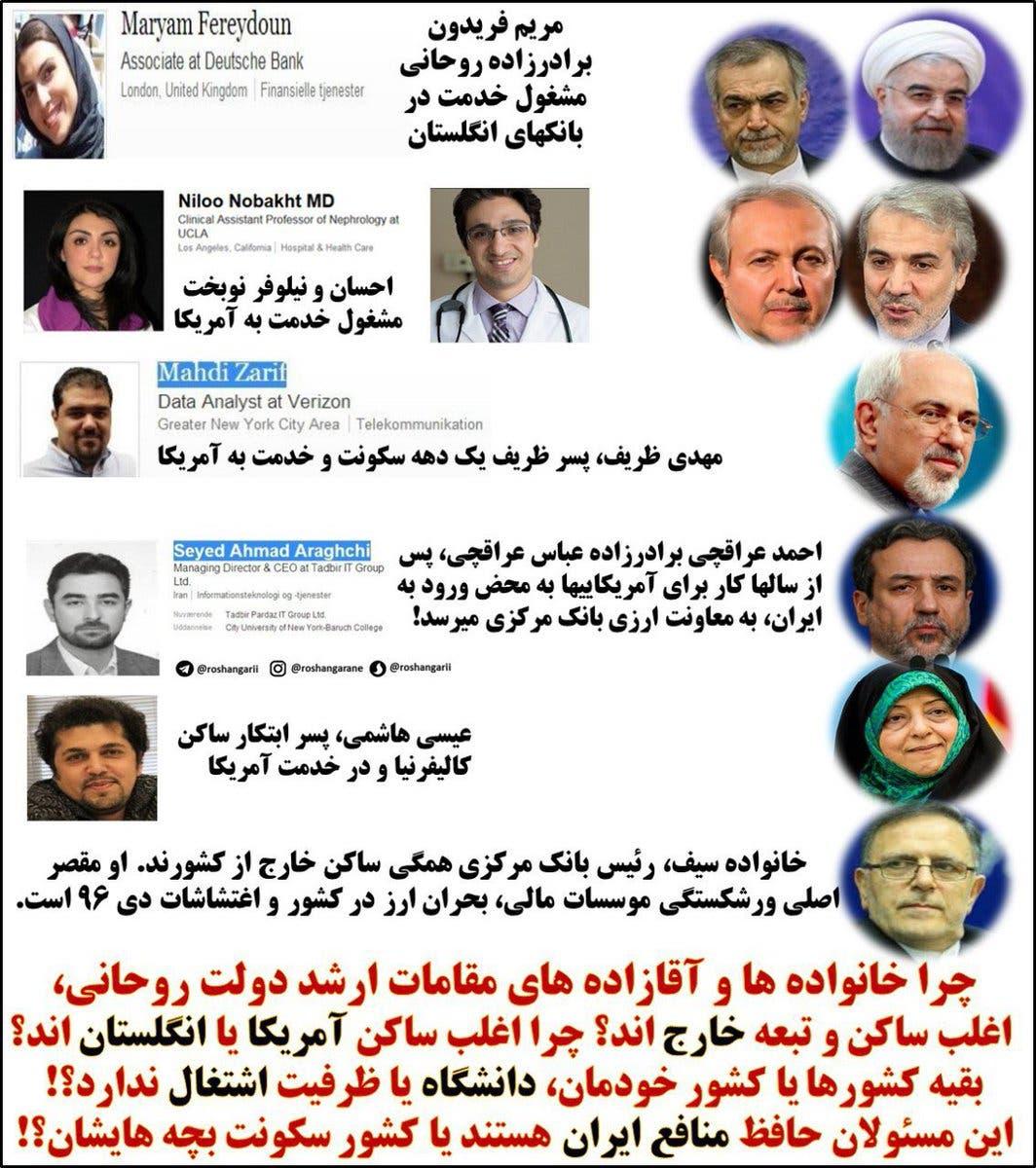 ناشطون رصدوا عددا من أبناء مسؤولي النظام الإيراني الذين يعيشون بأميركا