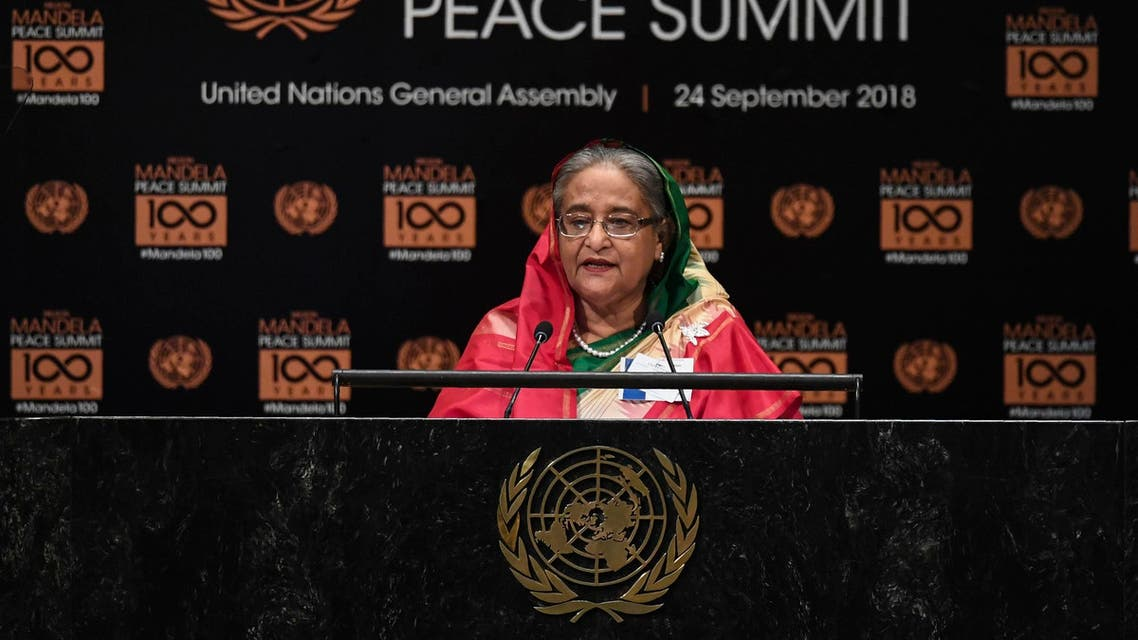 Sheikh Hasina addresses the Nelson Mandela Peace Summit at the United Nations in New York on September 24, 2018. (AFP)