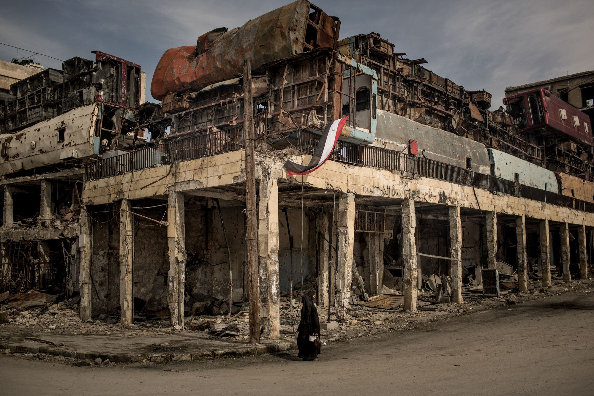 آثار ویرانی  در حمص