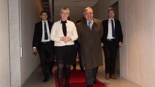 وزيرة خارجية السويد مع الأمين العام للأمم المتحدة أنطونيو غوتيريس