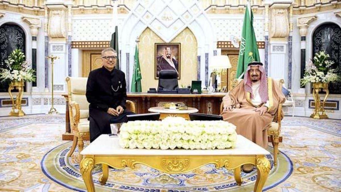 شاہ سلمان اور صدر پاکستان ڈاکٹر عارف علوی کی ملاقات۔ [تصویر بشکریہ اے پی پی]