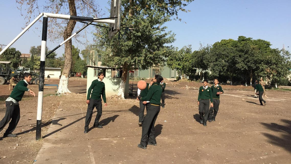 Army Public School students playing basketball inside school premises in Peshawar, Pakistan. (Supplied)