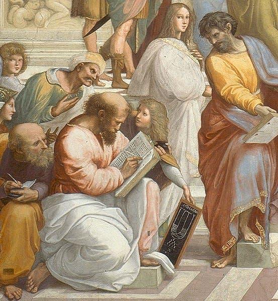 رسم تخيلي للفنان الإيطالي رافييل لفيثاغورس