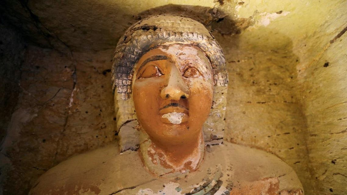 A statue is seen inside the newly-discovered tomb of 'Wahtye', which dates from the rule of King Neferirkare Kakai, at the Saqqara area near its necropolis, in Giza. (Reuters)