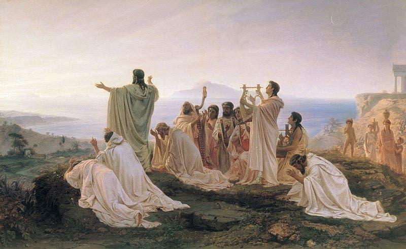 لوحة زيتية للفنان الروسي برونيكوف تجسد احتفال فيثاغورس بشروق الشمس