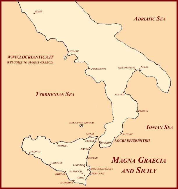رسم لخريطة اليونان الكبرى والمعروفة أيضا بماغنا غراسيا