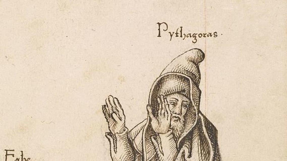 رسم تخيلي يجسد رفض فيثاغورث عبور حقل الفاصوليا