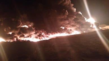 حريق  ضخم ببئر بترول في مصر.. ومحاولات لإخماد النار
