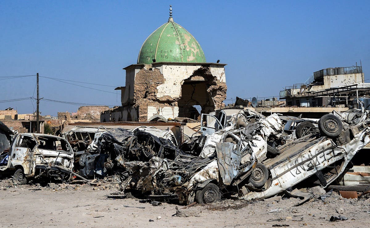 A view of the dome of the destroyed Al-Nuri Mosque in the Old City of Mosul. (AFP)