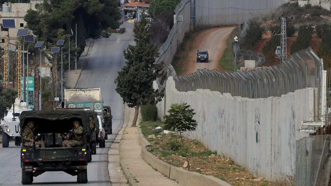 Lebanese army special forces patrol on December 5, 2018 around the southern village of Kfar Kila near the border with Israel. Israel had announced on December 4 that it had discovered Hezbollah tunnels infiltrating its territory from Lebanon and launched an operation to destroy them.
