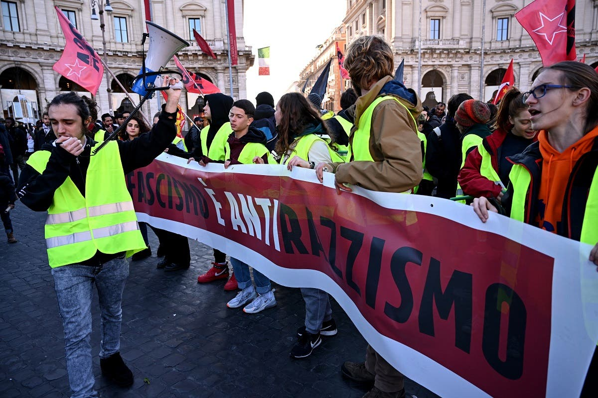 Italy migrant protest. (AFP)