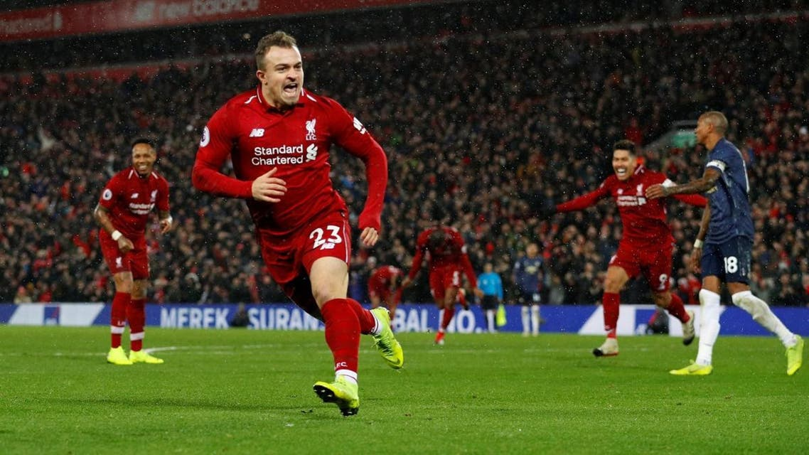 Liverpool's Xherdan Shaqiri celebrates scoring their second goal. (Reuters)