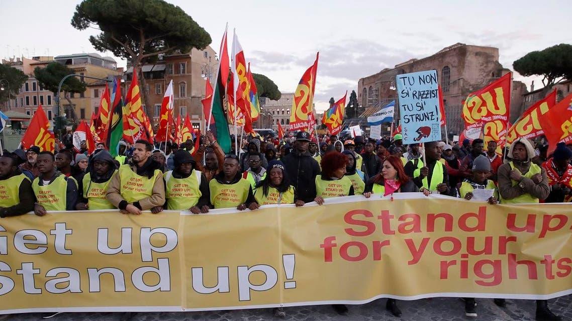 Italy migrant protest. (AP)