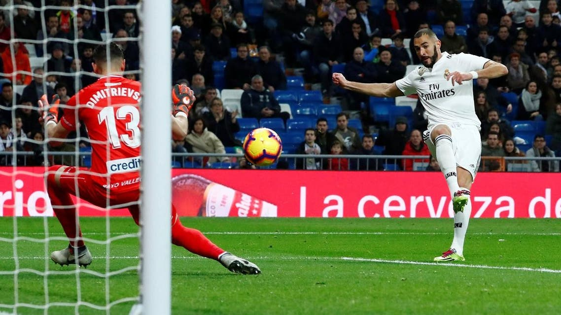 Real Madrid's Karim Benzema scores their first goal. (Reuters)