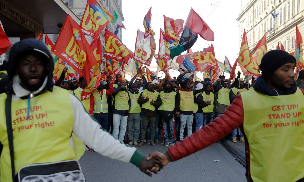Italy migrant protest. (AP)