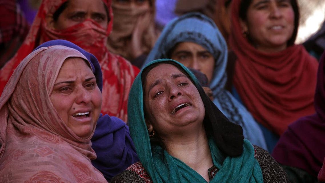 Women mourn during the funeral of Murtaza Bashir, a civilian, during his funeral in Prichoo village in Kashmir's Pulwama district. (Reuters)
