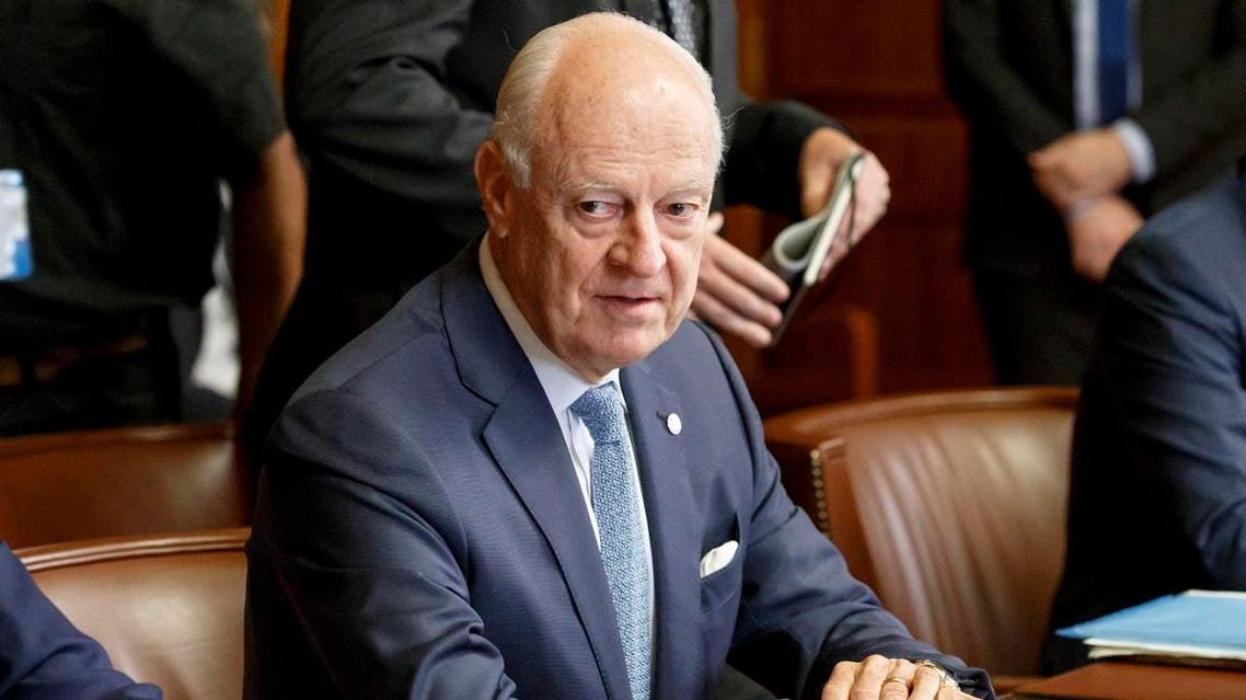 UN Special Envoy of the Secretary-General for Syria Staffan de Mistura attends a meeting on creating a committee to help draft a new constitution for Syria, at the European headquarters of the United Nations in Geneva on September 11, 2018. Representatives of Russia, Turkey and Iran, are meeting with the UN Special Envoy of the Secretary-General for Syria to discuss the situation in the war-torn nation. afp