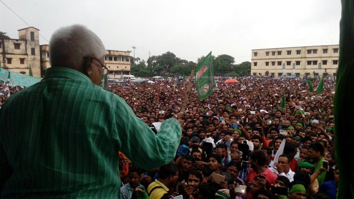 Lalu Prasad addressing an election rally in Bihar. (Supplied)