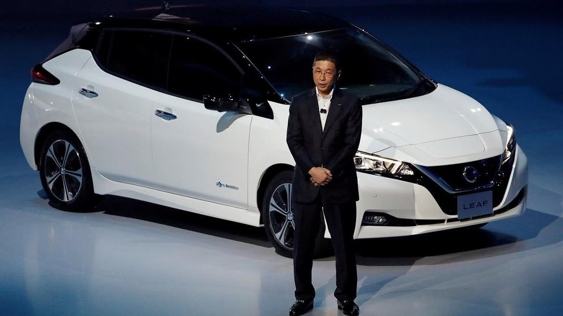 Nissan Motor Co's CEO Saikawa speaks in front of the company's new Leaf, the latest version of the world's top selling EV, during its world premiere in Chiba. (Reuters)