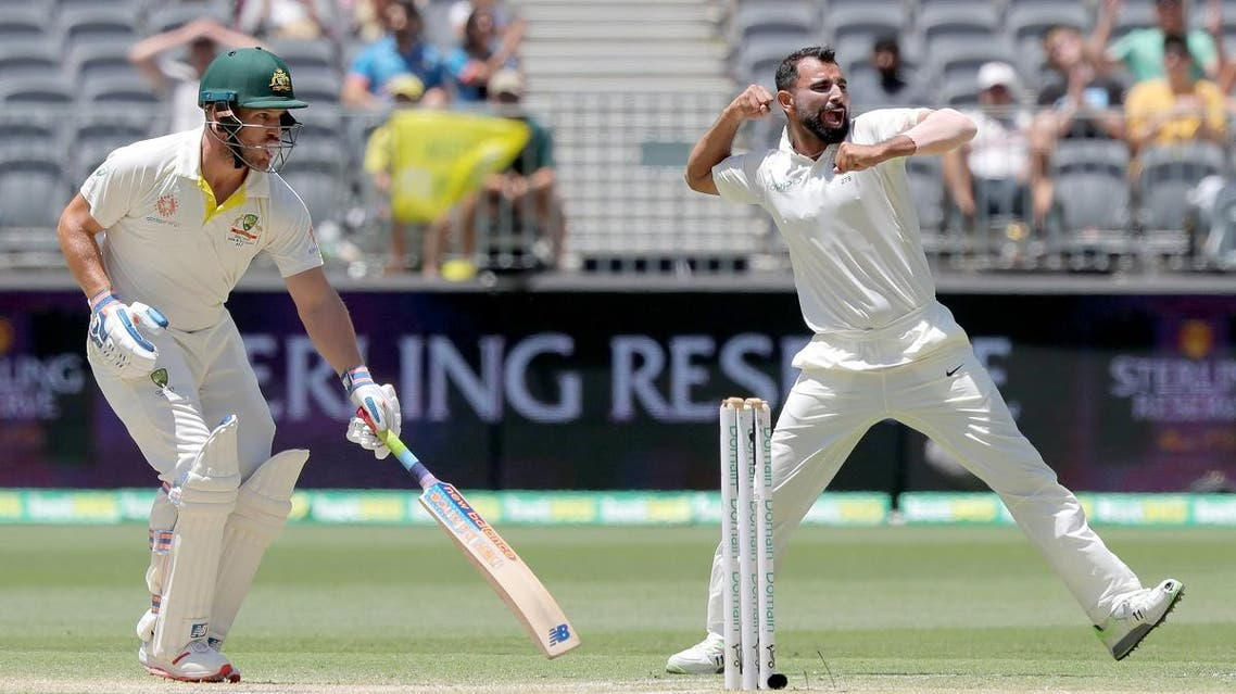 India's Shami celebrates after dismissing Australia's Finch on day four of the second test match between Australia and India at Perth Stadium in Perth. (Reuters)