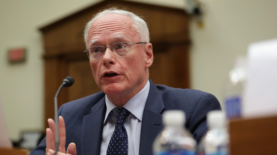 """WASHINGTON, DC - JULY 15: Former U.S. Ambassador to Iraq James Jeffrey testifies during a joint hearing before the Terrorism, Nonproliferation, and Trade Subcommittee and Middle East and North Africa Subcommittee of the House Foreign Affairs Committee July 15, 2014 on Capitol Hill in Washington, DC. The subcommittees held the hearing on """"The Rise of ISIL (Islamic State of Iraq and the Levant): Iraq and Beyond."""" Alex Wong/Getty Images/AFP"""