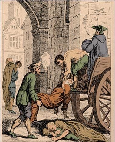 رسم تخيلي لعملية نقل جثث ضحايا الطاعون بالعصور الوسطى