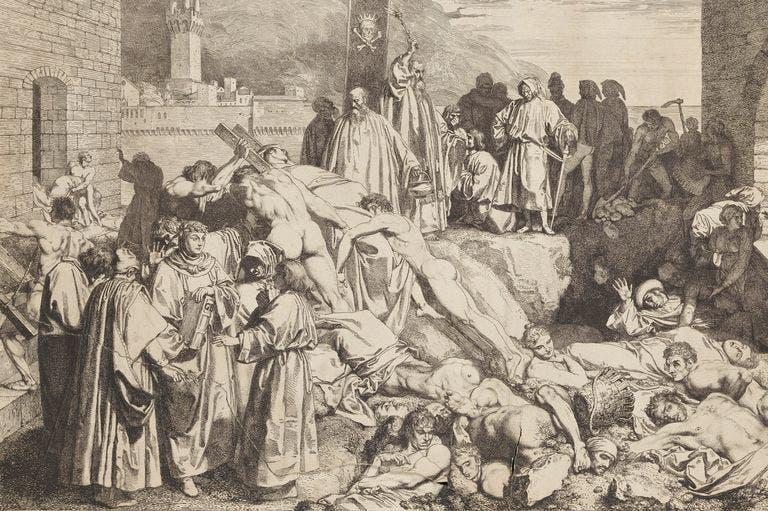 رسم تخيلي لعدد من ضحايا الطاعون بالعصور الوسطى