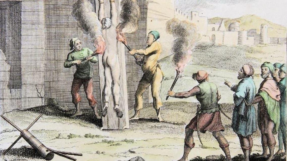 رسم تخيلي لإحدى عمليات التعذيب عن طريق الحرق بالقرون الوسطى