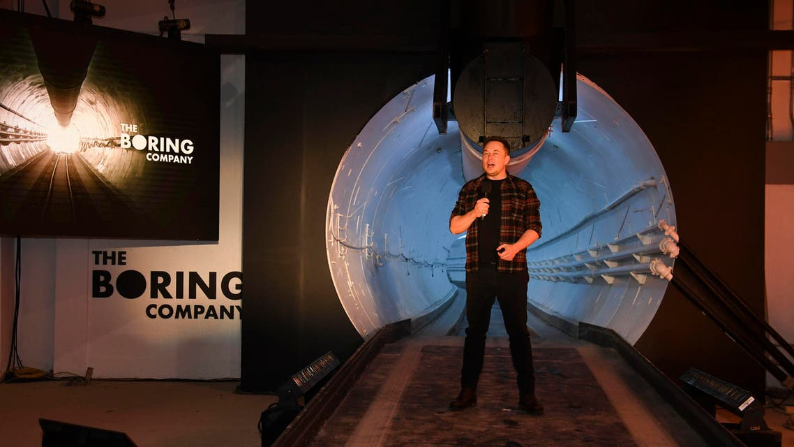 Elon Musk speaks during unveiling event for the Boring Co. Hawthorne test tunnel in Hawthorne, Calif., on Dec. 18, 2018. (AP)